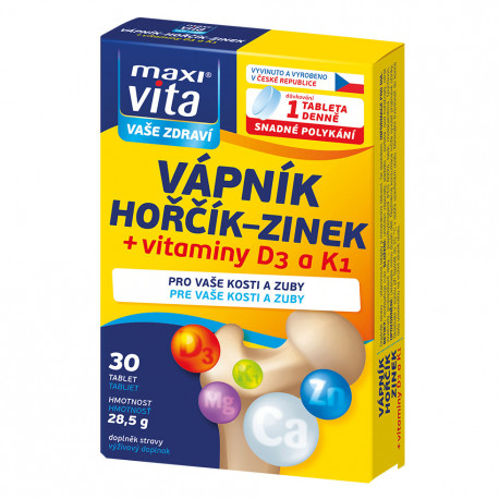 Калций + Магнезий + Цинк + Витамин D3 + Витамин К1, 30 таблетки